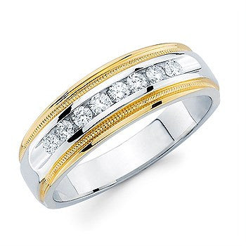 1/5 Ctw. Channel Set Men's Diamond Wed Band With Millgrain Detail In 14K Two Tone Gold