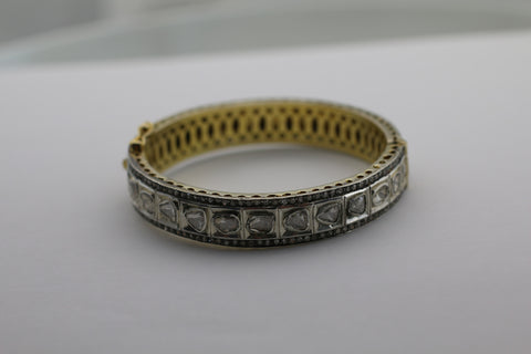 Handmade Antique Sterling Silver with Vermeil Diamond Bangle Bracelet
