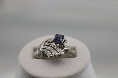 14K White Gold Sapphire and Diamond Ring Size 5