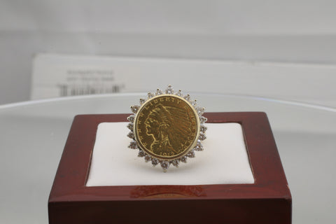 1912 Indian Head Quarter Eagle 14K Yellow Gold Diamond Ring Size 10