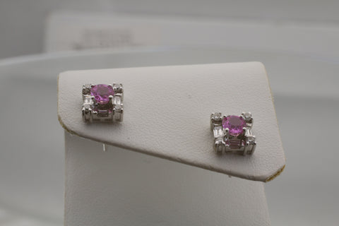 18k White Gold Pink Sapphire and Diamond Earrings