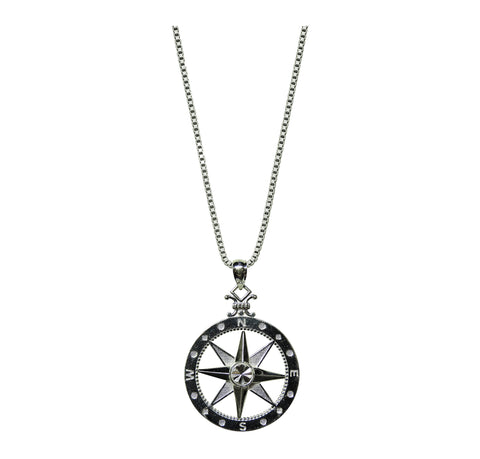 Guardian Compass Pendant with Sterling Box Chain