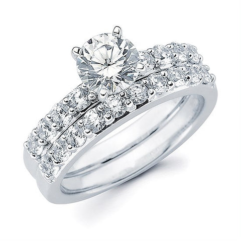 Diamond Shared Prong Engagement Ring (for 1ct center)