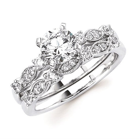Thin-Leaf Engagement Ring (for 1ct center)