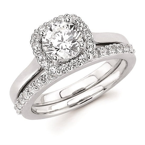 Cushion Style Halo Engagement Ring (For Round Center)