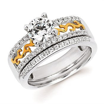 1/6 Ctw. Diamond Semi Mount with Patterned Band shown with 3/4 Ct. Round Center Diamond in 14K Two Tone Gold