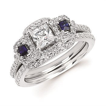 1 Tgw. Round & Princess Cut Sapphire & Diamond Halo Semi Mount (Includes 3/4 Ctw. Diamonds) available for 1/2 Ct. Princess Cut Center Diamond in 14K Gold
