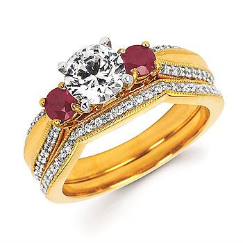 5/8 Tgw. Ruby & Diamond Semi Mount with Millgrain Detail (Includes 1/6 Ctw. Diamonds) shown with 1 Ct. Round Center Diamond in 14K Gold