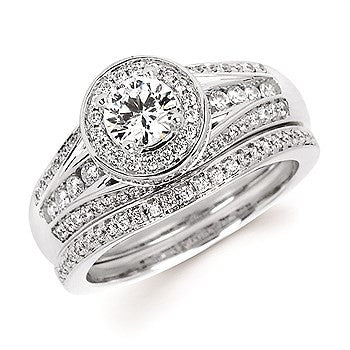 1/2 Ctw. Diamond Halo Semi Mount available for 1/2 Ct. Round Center Diamond in 14K Gold
