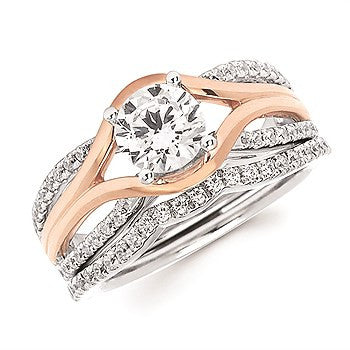 1/5 Ctw. Diamond Split Shank Semi Mount shown with 1 Ct. Round Center Diamond in 14K White & Rose Gold