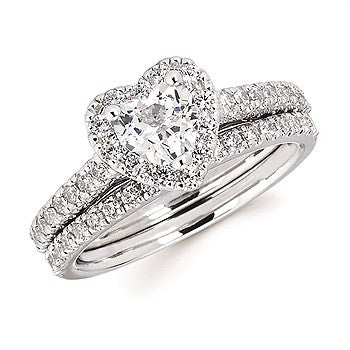 3/8 Ctw. Diamond Halo Semi Mount for 3/4 Ctw. Heart Center Diamond in 14K Gold