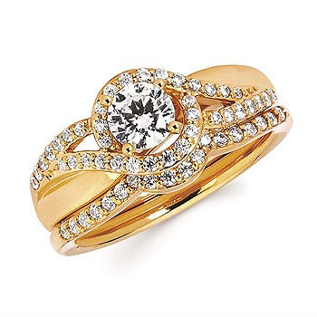 1/4 Ctw. Diamond Semi Mount shown with 1/2 Ctw. Round Center Diamond in 14K Gold