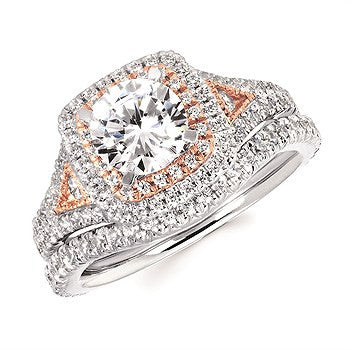 1/2 Ctw. Diamond Semi Mount with Millgrain Detail shown with 1 Ct. Round Center Diamond in 14K Gold