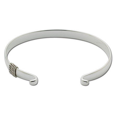 Wide Cape Cod Convertible Sterling Silver Bracelet with Rope Detail