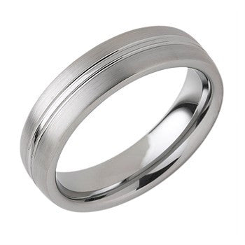 6.00mm Tungsten Band With Center Channel Accent