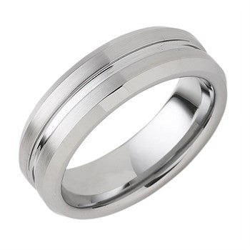 7.00mm Tungsten Band With Center Channel Accent