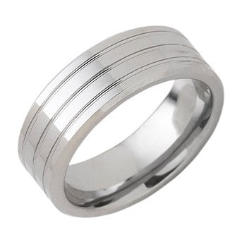 8.00mm Tungsten Band With Triple Channel Accent
