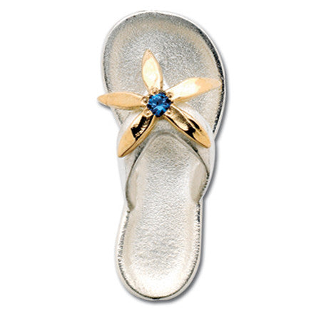 Cape Cod Convertible Charm - Flip Flop with Synthetic Sapphire and 14ky Accent