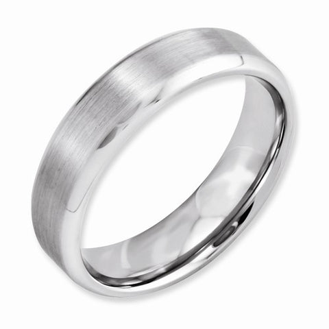 6.00mm Cobalt Beveled Edge Satin and Polished Band