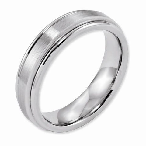 6.00mm Cobalt Satin and Polished Ridged Edge Band