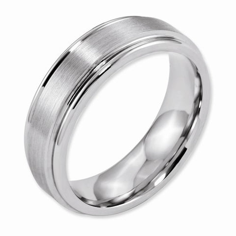 7MM Cobalt Chrome Satin & Polished Ridge Edge Wedding Band
