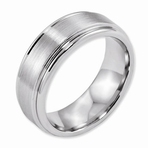 8.00mm Cobalt Satin and Polished Ridged Edge Band
