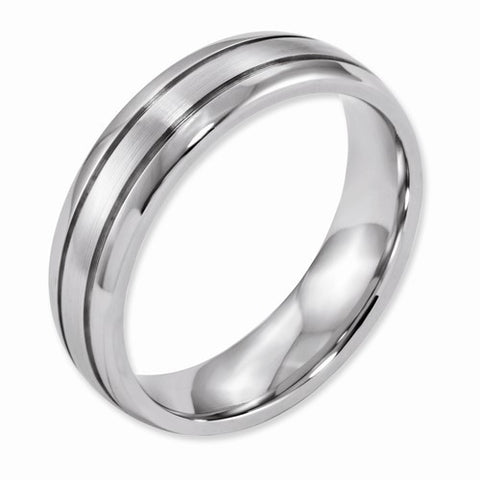 6.00mm Cobalt Polished and Satin Grooved Band