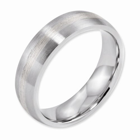 6.00mm Cobalt Sterling Silver Inlay Satin Band