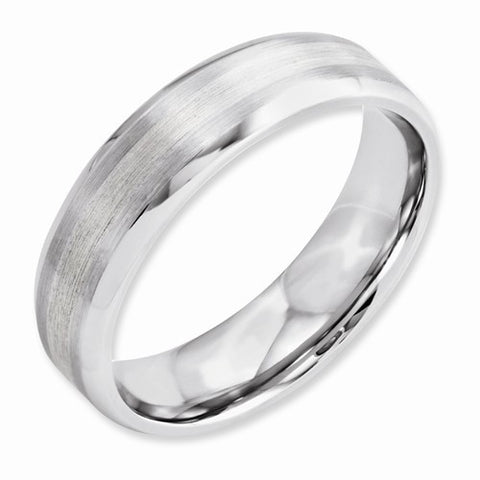 6.00mm Cobalt Sterling Silver Inlay Satin and Polished Beveled Edge Band