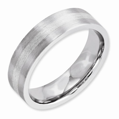 6.00mm Cobalt Sterling Silver Inlay Satin Flat Band