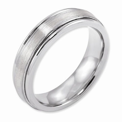 6.00mm Cobalt Sterling Silver Inlay Satin and Polished Band