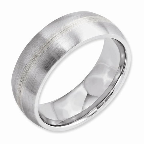 8.00mm Cobalt Sterling Silver Inlay Satin Band