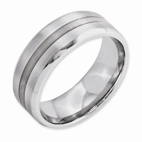 8.00mm Cobalt Sterling Silver Inlay Satin and Polished Beveled Edge Band