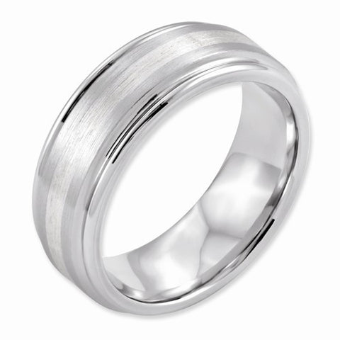 8.00mm Cobalt Sterling Silver Inlay Satin and Polished Band