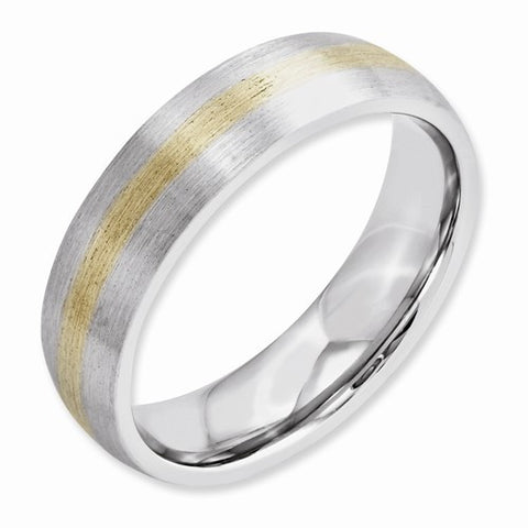 6.00mm Cobalt 14k Gold Inlay Satin Band