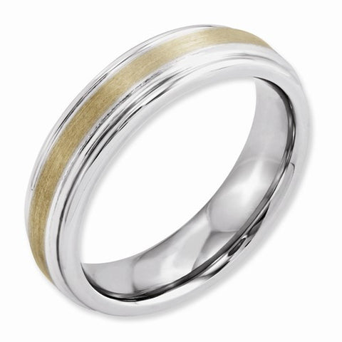 6.00mm Cobalt 14k Gold Inlay Satin and Polished Band