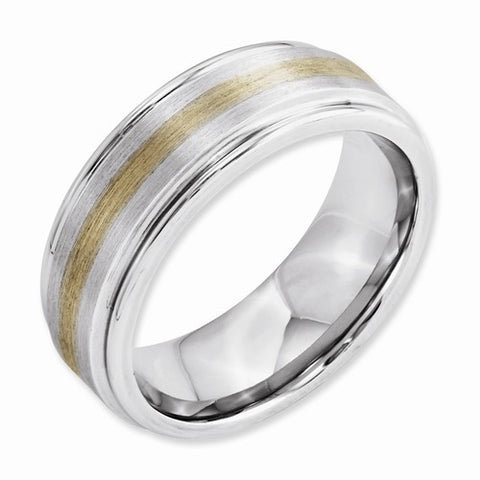 8.00mm Cobalt 14k Gold Inlay Satin and Polished Band