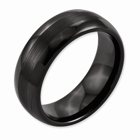 8.00mm Black Ceramic Brushed and Polished Band