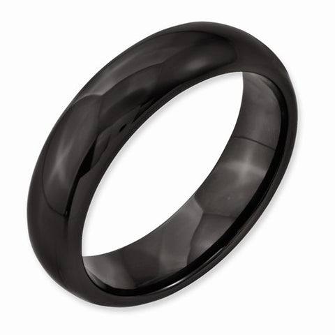 6.00mm Black Ceramic Polished Band