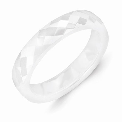 4.00mm White Ceramic Faceted Polished Band