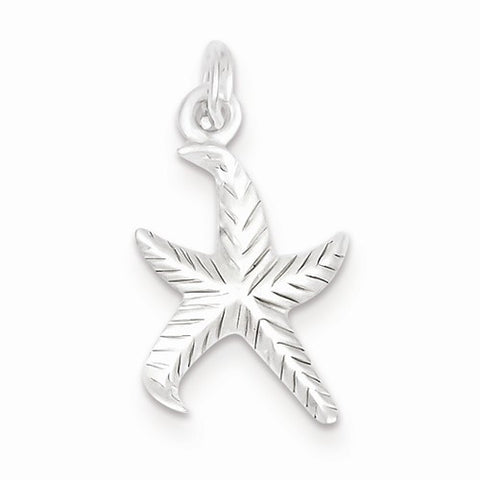 Textured Starfish Pendant - Sterling Silver