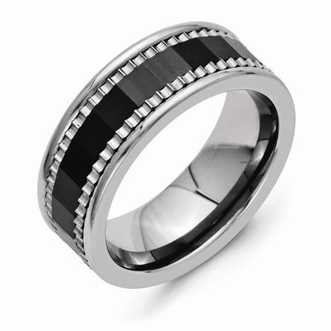 8.00mm Stainless Steel with Sawtooth Accent & Black Ceramic Center Faceted Band