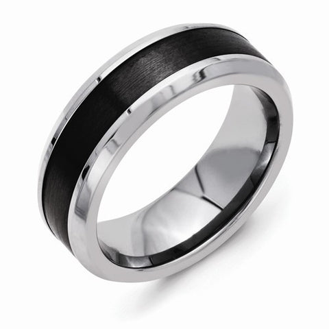 8.00mm Stainless Steel Base with Polished Black Ceramic Center Beveled Band