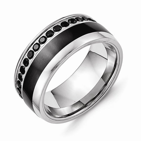 9.00mm Stainless Steel Polished Black Band with Ceramic Inlay and CZ
