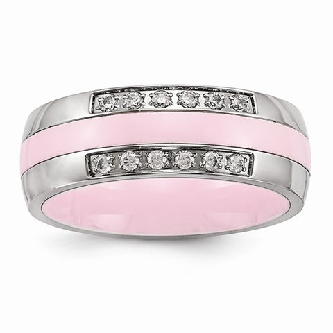 7.00mm Stainless Steel Polished Pink Ceramic CZ Band