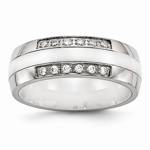 7.00mm Stainless Steel Polished White Ceramic CZ Band