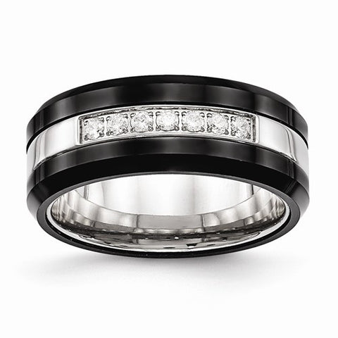 8.00mm Stainless Steel Polished Black Ceramic Beveled Edge Band with CZ