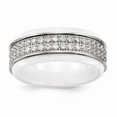 8.00mm Stainless Steel Polished White Ceramic CZ Ridged Edge Band