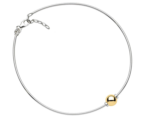 LeStage Cape Cod Sterling Silver Anklet with 14K Accent [Single Ball]