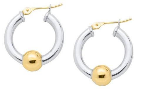LeStage Cape Cod Jewelry - Single Ball Small Earrings - Sterling Silver with 14ky Accent